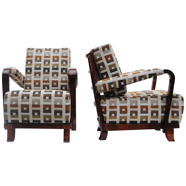 Pair of Art Deco Armchairs from Czechoslovakia by Jan Vanek