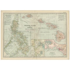 Antique Map of the Philippine Islands and Hawaii, 1903