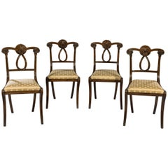 Set of Four Early 19th Century Regency Period Carved Beechwood Side Chairs