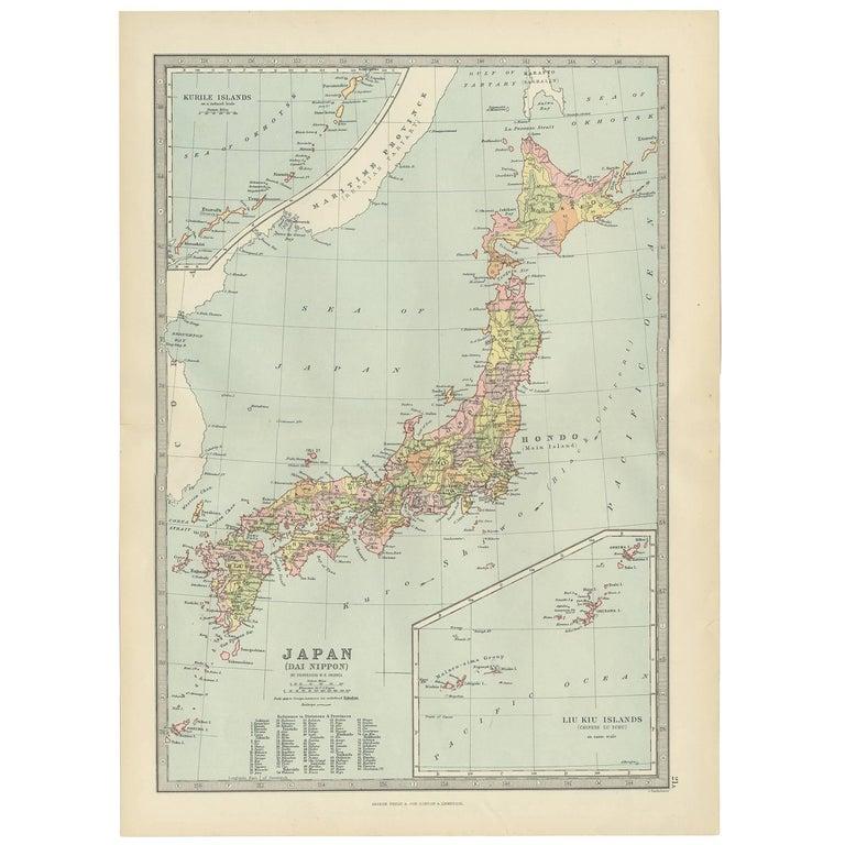 Antique Map of Japan, the Kurile Islands and Liu Kiu Islands, 1886