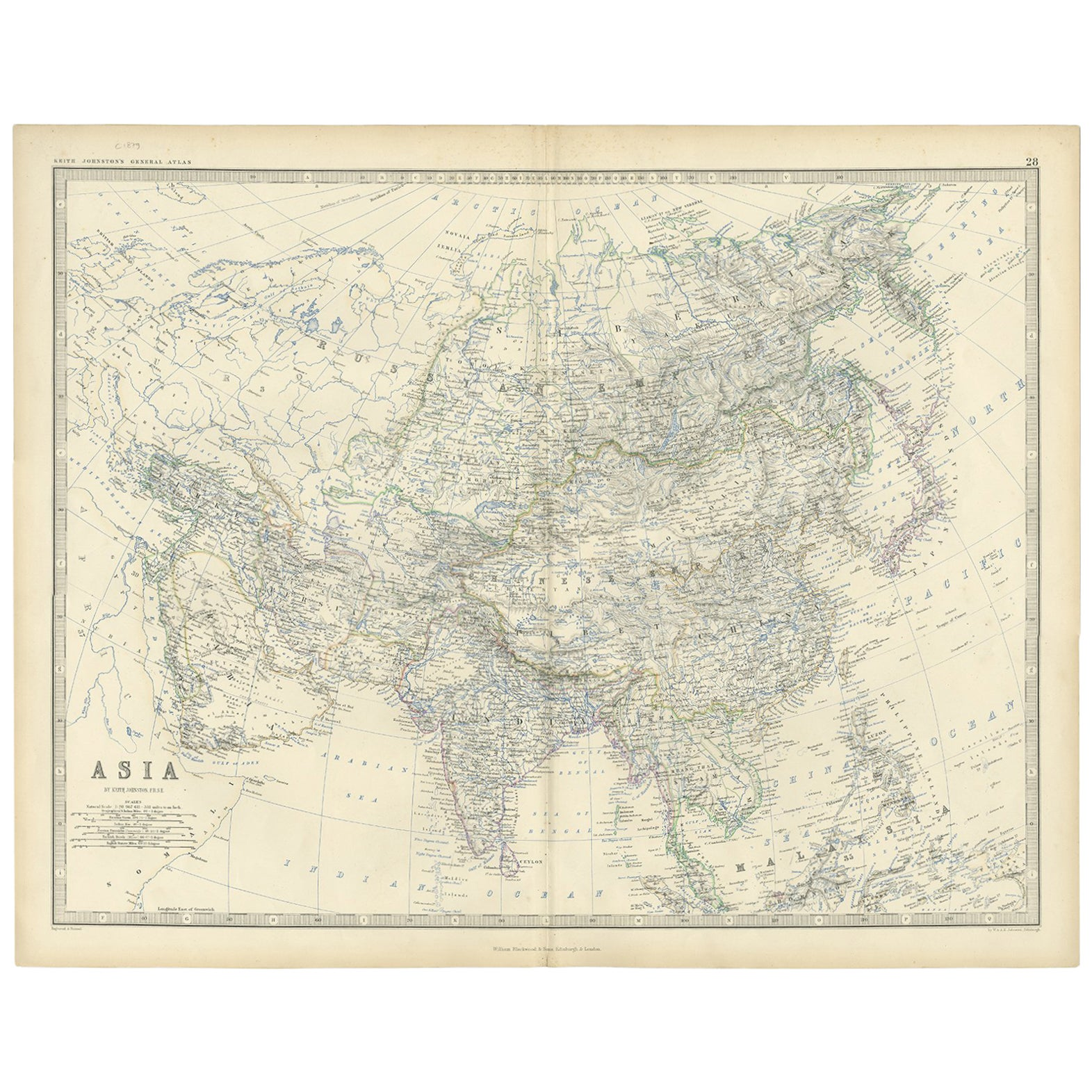 Antique Map of Asia by K. Johnston, circa 1879