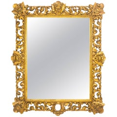 Antique Italian Gilded Florentine Mirror, 18th Century