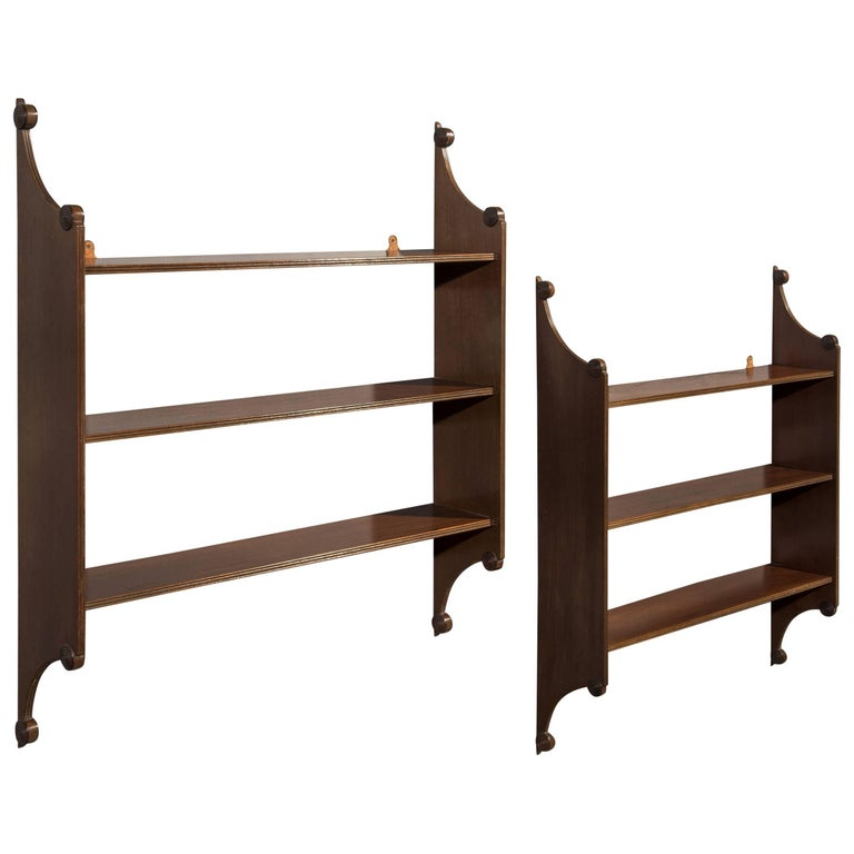 Pair of 19th Century Regency Period Mahogany Hanging Shelves