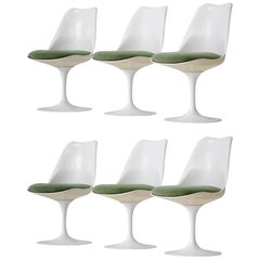 Set of Six Dining Tulip Chair Eero Saarinen Knoll International Swivelling