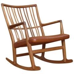 Rare and Stunning Hans Wegner Model ML33 Rocking Chair Mikael Laursen Denmark