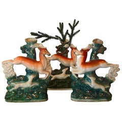 19th Century Staffordshire Figures Deers with Dogs