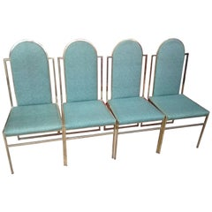 Dining Chairs with Brass Frame by Romeo Rega, 1970s, Set of Four