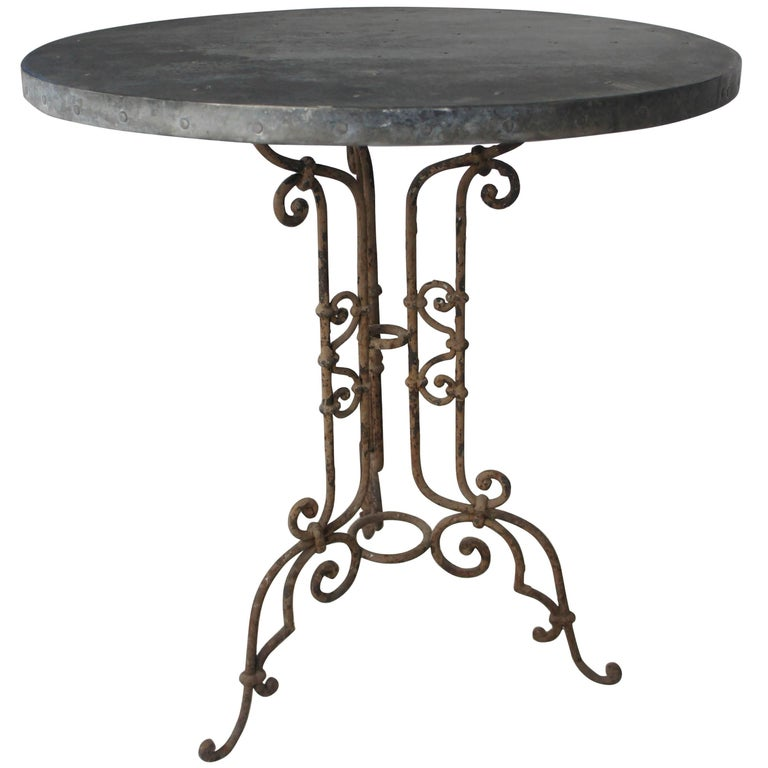 19th Century French Small Wrought Iron Patio Garden Table with Zinc Top