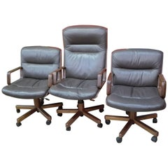 Presidential Armchair with High Back and Solid Wood Arms