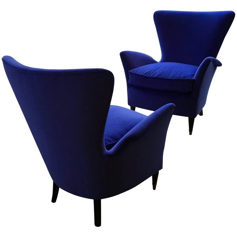 Pair of Vintage Blue Velour Lounge Chairs, Midcentury Italian, 1950s For Sale
