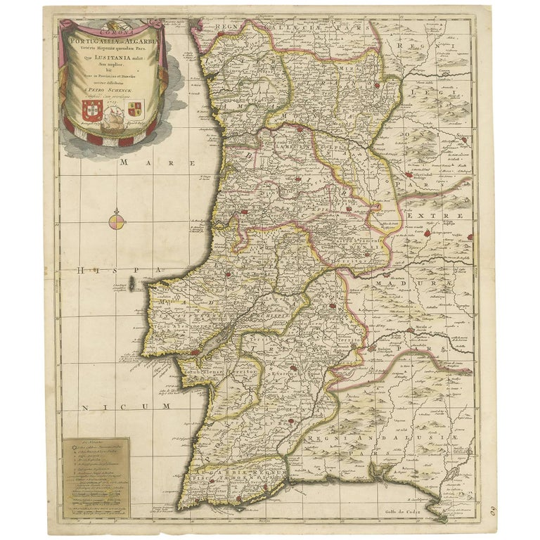 Map Of Spain 1700.Antique Map Of Portugal By P Schenk Circa 1700