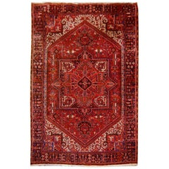 Heriz Persian Rug Semi Antique Midcentury Carpet