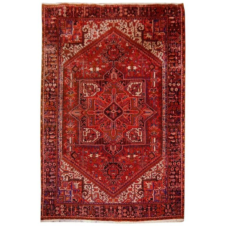 Heriz Persian Rug Semi Antique Midcentury Carpet For Sale