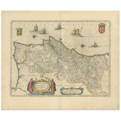 Antique Map of Portugal by W. Blaeu, 1650