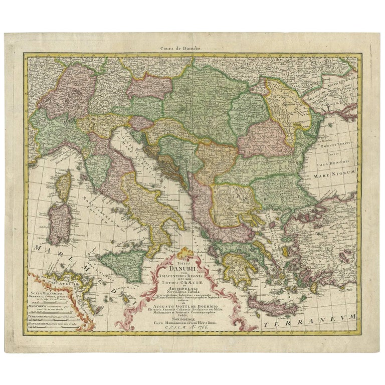 Antique Map of the Region Around Italy, Sicily and Greece by H. Heirs, 1766