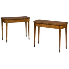 Pair of Early 19th Century Regency Period Satinwood Inlaid Card Tables