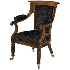 Early 19th Century Period Regency Rosewood Library Armchair