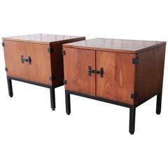 Kipp Stewart for Directional Mid-Century Modern Walnut Nightstands, Pair
