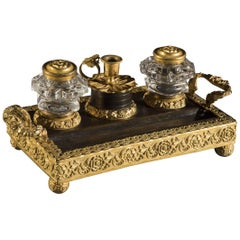 Early 19th Century Regency Period Gilt Metal Ink Stand