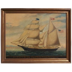 American Oil on Canvas Framed Brigantine Ganges of New York, Circa 1862