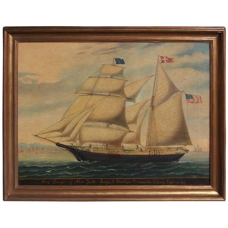 American Oil on Canvas Framed Brigantine Ganges of New York, Circa 1862