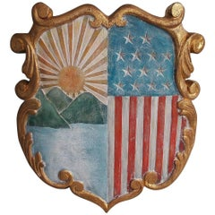 American Gilt Carved and Painted Patriotic Shield, Circa 1920