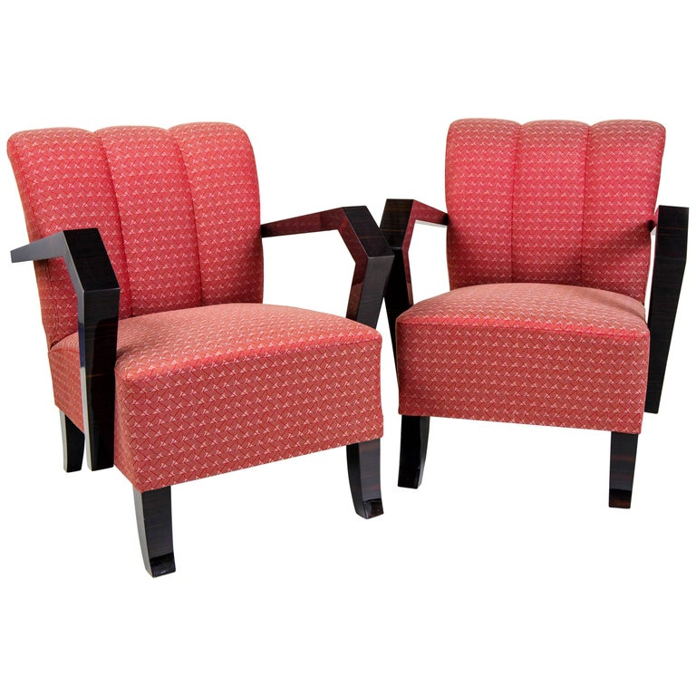 Pair of Art Deco Armchairs from Czechoslovakia For Sale