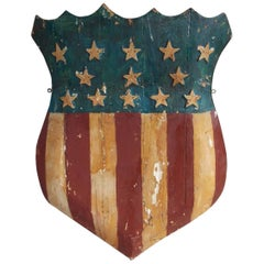 American Hand-Carved and Painted Patriotic Shield with Raised Stars, Circa 1870