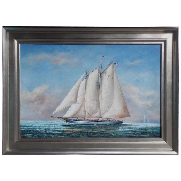 American Oil on Canvas of Two Masted Schooner Yacht under Full Sail,  20th C.