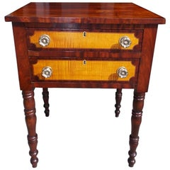 American Sheraton Cherry Mahogany and Tiger Maple Two-Drawer Stand, Circa 1820