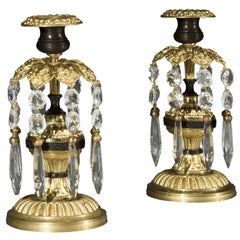 Pair of Regency Period Gilt Metal and Cut Glass Candlestick Lustres
