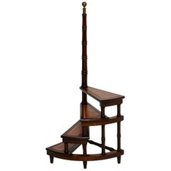 Antique Mahogany and Leather Library Steps