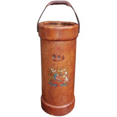 English Leather Covered Shot Bucket with Coat of Arms, Circa 1840
