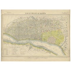 Antique Plan of the City of Calcutta 'India' by Letts, 1883