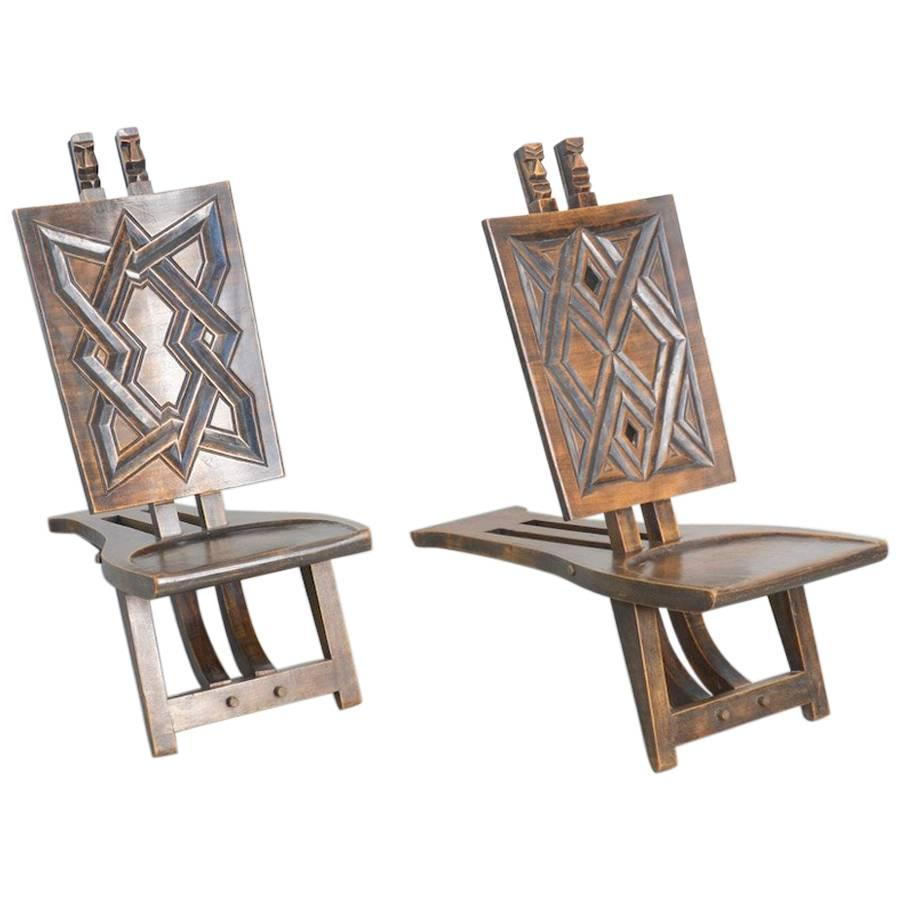 Nice Pair Of Geometric African Chief Chairs For Sale
