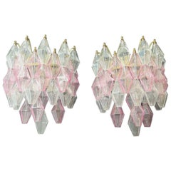 """Pair of Sconces Model """"Poliedri"""", Carlo Scarpa, Transparent and Pink Glasses"""