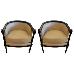 Smart Tailored Pair of Barrel Shaped Tub Club Chairs