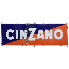 1950s Blue and Red Enamel Metal Cinzano Italian Sign