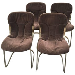 Italian Set of  Cidue Gilt Metal Chairs by Willy Rizzo from 1970s