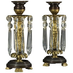 Pair of Regency Period Gilt Brass and Cut Glass Candlestick Lustres