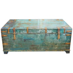 Victorian Brass Bound Campaign Trunk in Original Blue Paint