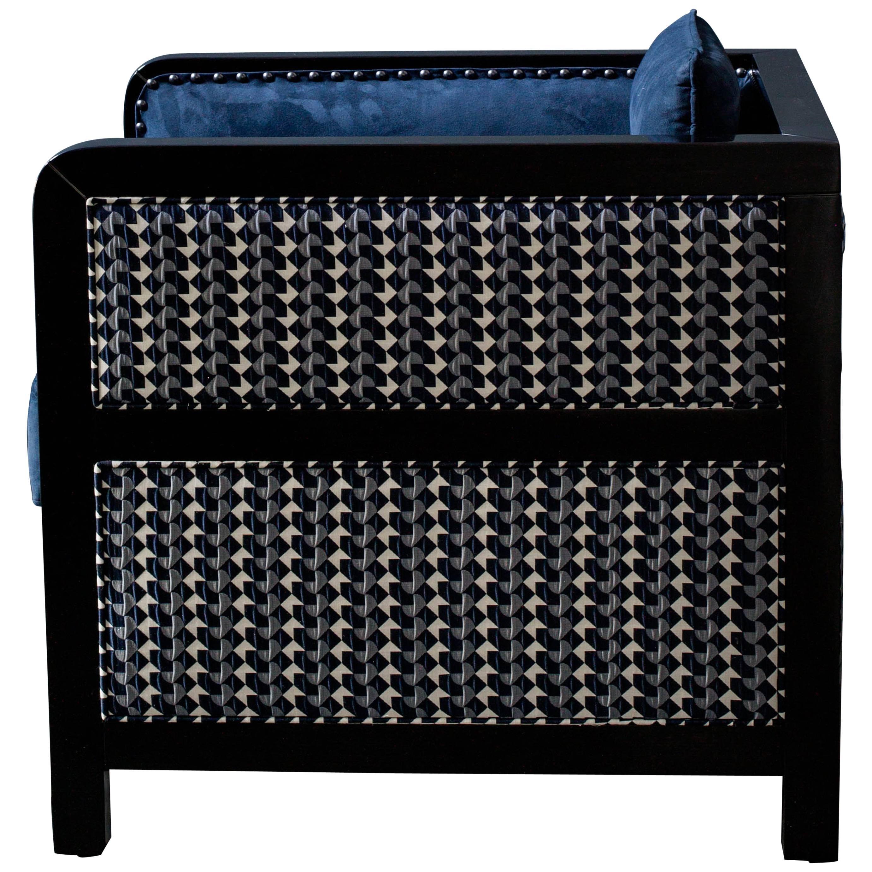 Art Deco Bacco Deconstructed Armchair in Novasuede and Belo fabric - SHOWROOM