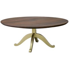 Large Round Walnut Table with Brass Wishbone Pedestal Base