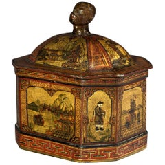 19th Century Period Lead Tobacco Jar Decorated in the Chinoiserie Style