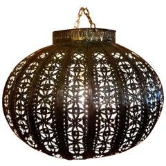 Turkish Moroccan Handmade Copper Finish Metal Lantern, Basket