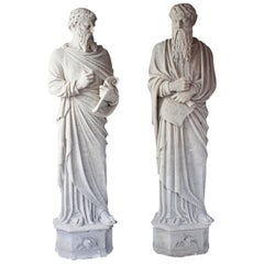 Monumental Pair of Early 19th Century Stone Statues of Saints