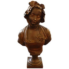 Bronze Bust of Woman with Bonnet; Signed E. Laurent