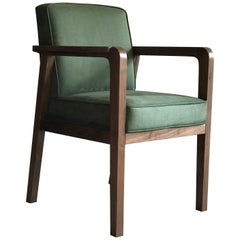 Atena Carver Chair in Walnut Upholstered with Nova Suede