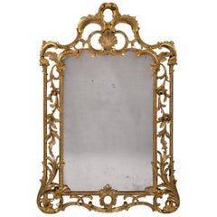 George III Period 18th Century Carved Giltwood and Gesso Mirror