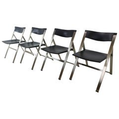 Set of Four Contemporary P08 Folding Chairs, Tecno, Italy, 1991